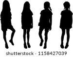 vector silhouette of children... | Shutterstock .eps vector #1158427039