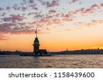 maiden's tower with sunset sky... | Shutterstock . vector #1158439600