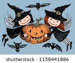 vector image of merry elves... | Shutterstock .eps vector #1158441886
