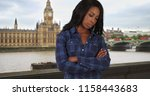 solitary black woman stands...   Shutterstock . vector #1158443683
