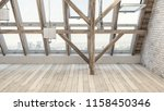 empty rehabilitated attic with... | Shutterstock . vector #1158450346
