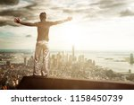 unidentifiable joyful man with... | Shutterstock . vector #1158450739