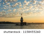 maiden's tower with sunset sky... | Shutterstock . vector #1158455260