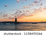 maiden's tower with sunset sky... | Shutterstock . vector #1158455266