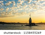 maiden's tower with sunset sky... | Shutterstock . vector #1158455269