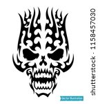 tribal skull tattoo. vector...   Shutterstock .eps vector #1158457030