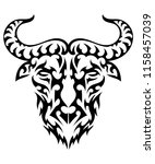 tribal bull tattoo  bison ... | Shutterstock .eps vector #1158457039