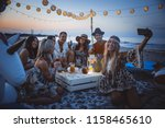 group of friends making party... | Shutterstock . vector #1158465610