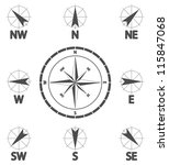Постер, плакат: Compass wind rose Wind