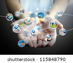hand holding business diagram | Shutterstock . vector #115848790