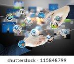 businessman holding business... | Shutterstock . vector #115848799