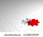 puzzle concept with red part ... | Shutterstock . vector #115852939