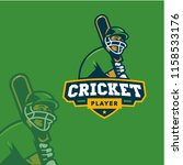 cricket player logo sport | Shutterstock .eps vector #1158533176