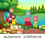 a muslim family picnic in... | Shutterstock .eps vector #1158546136