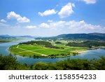 Nakdonggang River. Kyungchundae is a famous tourist spot in Sangju-si, Korea.