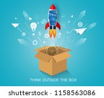 think outside the box. space... | Shutterstock .eps vector #1158563086