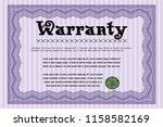 violet warranty template.... | Shutterstock .eps vector #1158582169