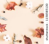 autumn composition. frame made... | Shutterstock . vector #1158585130