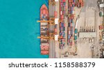 aerial view container ship from ... | Shutterstock . vector #1158588379