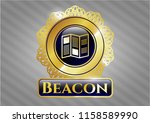 golden emblem with brochure... | Shutterstock .eps vector #1158589990