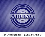 airbag badge with denim texture | Shutterstock .eps vector #1158597559