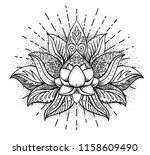 lotus and sacred geometry.... | Shutterstock .eps vector #1158609490