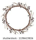 round wreath from dry twigs... | Shutterstock . vector #1158615826
