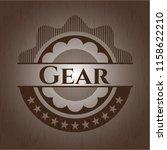 gear realistic wood emblem | Shutterstock .eps vector #1158622210
