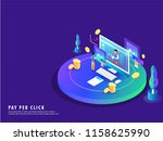 pay per click concept ... | Shutterstock .eps vector #1158625990