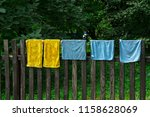 multicolored rags hang and dry...   Shutterstock . vector #1158628069