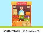 vendor behind market counter... | Shutterstock .eps vector #1158639676