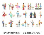 people shopping for clothes and ... | Shutterstock .eps vector #1158639703