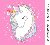 vector unicorn head. cute white ... | Shutterstock .eps vector #1158640129