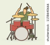 musician playing drum  music... | Shutterstock .eps vector #1158640666