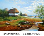 oil paintings rural landscape....   Shutterstock . vector #1158649423