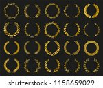 golden vector laurel wreaths on ... | Shutterstock .eps vector #1158659029