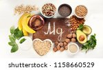 magnesium rich foods. top view. ... | Shutterstock . vector #1158660529