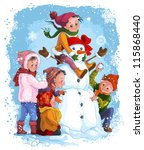 winter games  children and... | Shutterstock .eps vector #115868440