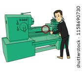 man inspecting a machine lathe... | Shutterstock .eps vector #1158690730