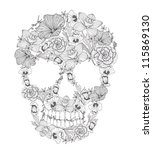 skull from flowers | Shutterstock .eps vector #115869130