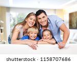 beautiful smiling family on... | Shutterstock . vector #1158707686