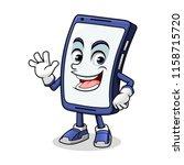 smartphone mascot waving with... | Shutterstock .eps vector #1158715720