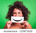 young woman with smiley... | Shutterstock . vector #115871620