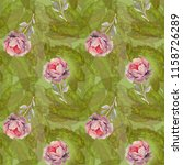 watercolor roses on green... | Shutterstock . vector #1158726289