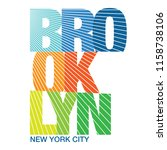 colorful brooklyn typography... | Shutterstock .eps vector #1158738106