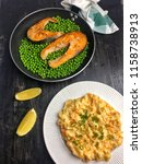 salmon with peas   mashed... | Shutterstock . vector #1158738913