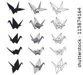 set of paper cranes on white.... | Shutterstock .eps vector #115874164