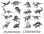 graphical set of dinosaurs... | Shutterstock .eps vector #1158744733