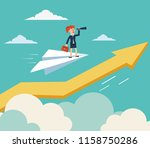 business woman flying on paper... | Shutterstock .eps vector #1158750286