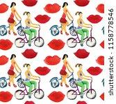 watercolor cute pattern  girls... | Shutterstock . vector #1158778546